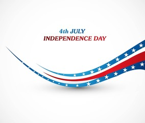 4th july american independence day creative wave white backgroun