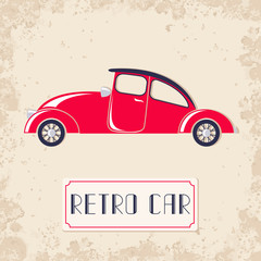 Vintage style vector illustration with red retro car