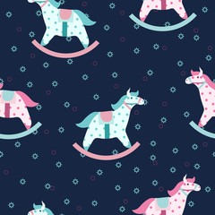 Colorful children pattern with rocking horses