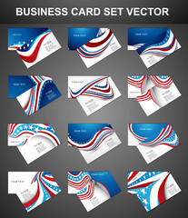 American Flag 4th july 12 business card set collection design ve