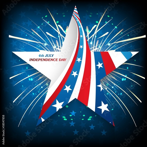 4th July American Independence Day star in American Flag celebra