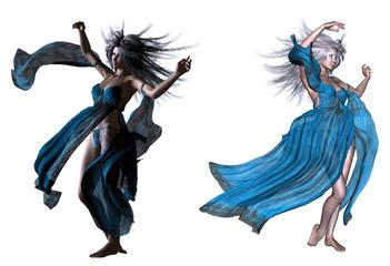 Fantasy woman with white hair