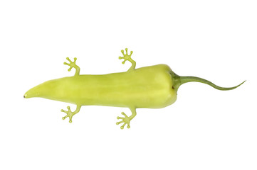 genetically modified pepper with legs and tail