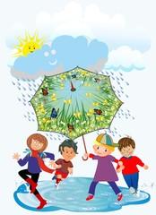 wesołe dzieci i deszcz,