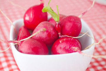 radish in bowl on checkered fabric