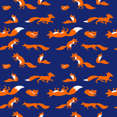 Seamless vector pattern with cute foxes
