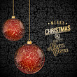 Christmas background with red and gold glass baubles