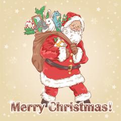 Christmas Santa Claus vintage postcard