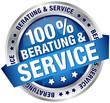 "Button Banner ""100% Beratung & Service"" blau"