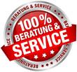 "Button Banner ""100% Beratung & Service"" rot"