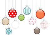 10 Hanging Christmas Balls Pattern Retro