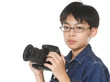 asian boy with camera isolated