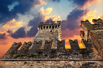 Medieval Castle Scaliger at sunset