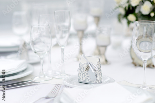 Table set for an event party or wedding reception - 58551454