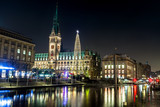 Christmas illuminations at Rathaus square in Hamburg, Germany