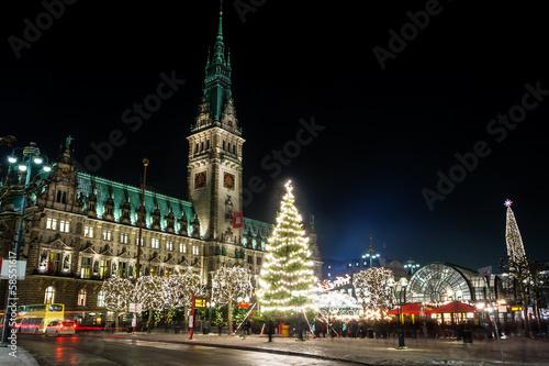 Leinwanddruck Bild Hamburg Weihnachtsmarkt, Germany