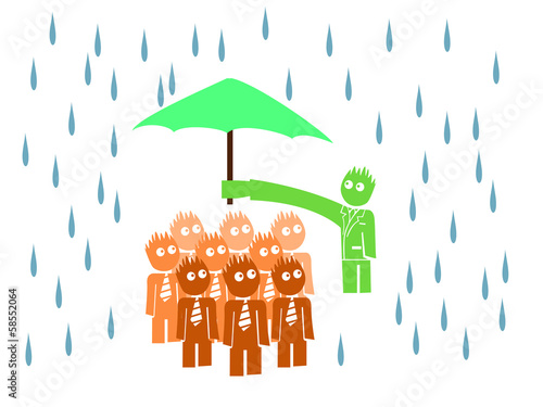 illustraion of boss hanging the umbrella up to his workers