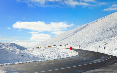 Road Through Snowy Mountains, South Island, New Zealand