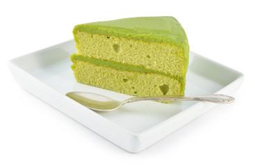 Green tea cake on white background