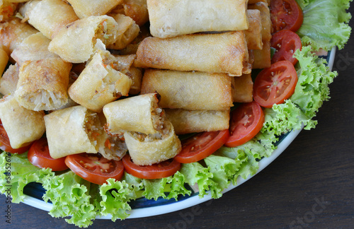 Spring rolls food on dish