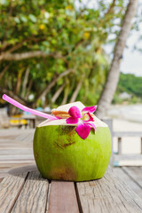 Coconut drink in the resort
