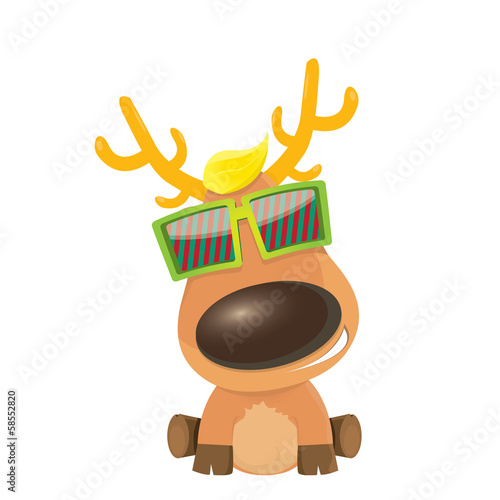 christmas greeting card design. hipster reindeer with sunglasses