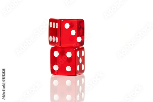 pair of red dice for gambling