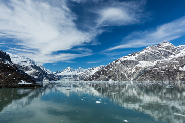 Panoramic view of the Johns Hopkins Inlet in Glacier Bay