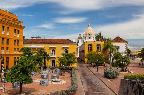 Kolonialna architektura w centrum Cartagena, Kolumbia