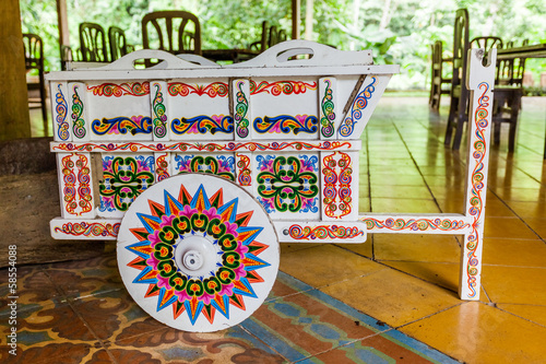 Traditional decorated,Costa Rican ox cart