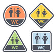 Restroom symbols set, flat signs retro color