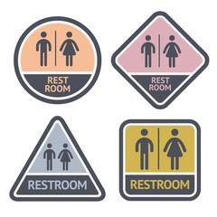 Restroom symbols set, flat symbols