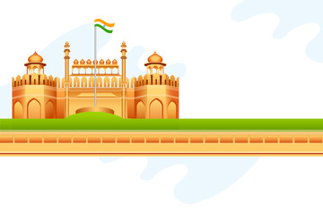 vector illustration of Indian tricolor on Red Fort in India