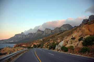Table Mountain in Cape Town from the road