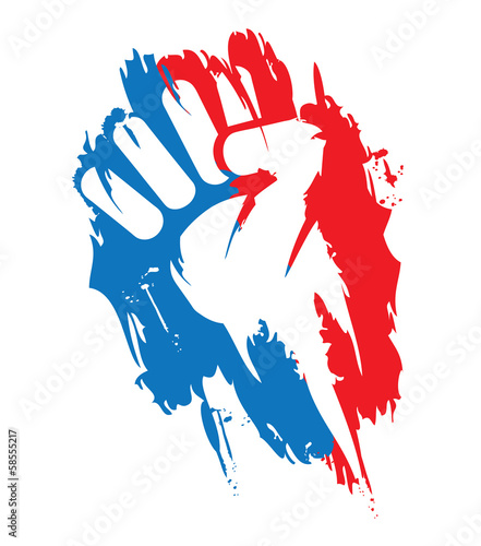 Révolution Bleu Blanc Rouge poing protestation illustration