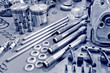 canvas print picture - blue toned precision auto engine parts laid out in a workshop