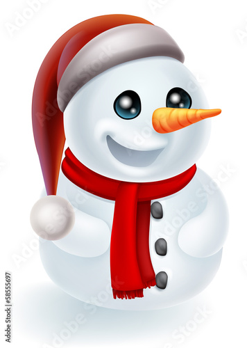 Christmas Snowman in Santa Hat