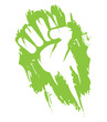 Green clenched hand fist painting protest illustration