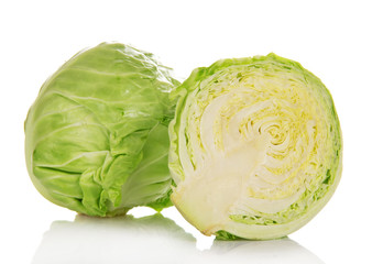Whole and half of cabbage