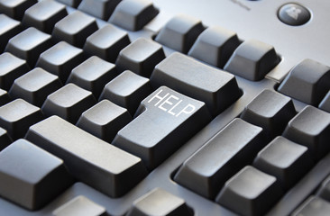 Grey keyboard with word HELP on enter
