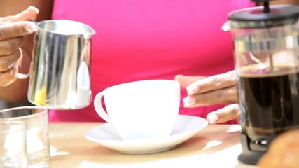 Mature African American Couple Breakfast Coffee
