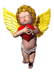 little angel embracing a love heart