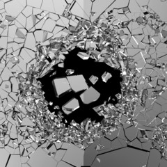 Abstract Illustration of Broken Glass isolated on black