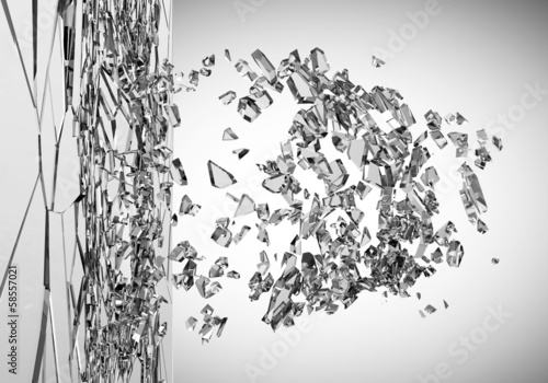 Abstract Illustration of Broken Glass on gradient background
