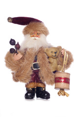 Vintage father christmas with old cotton reel decoration