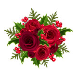 Christmas bouquet with roses and holly. Vector illustration.