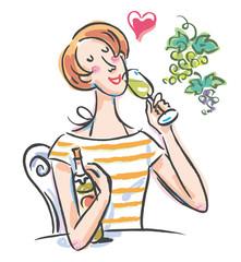 白ワイン 女性