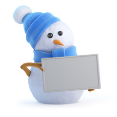 Blue snowman holds a banner