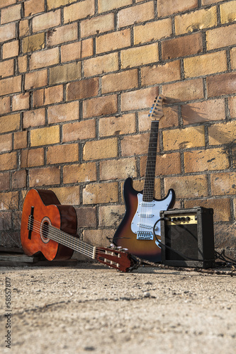 musical instruments isolated on the wall