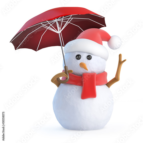Santa snowman has an umbrella